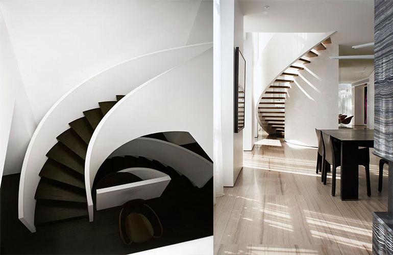 белая винтовая лестница